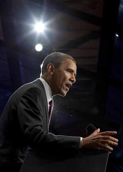 President Barack Obama speaks at The National Association of Latino Elected and Appointed Officials' Annual Conference at the Walt Disney World Resort, Friday, June 22, 2012, in Lake Buena Vista, Fla. (AP Photo/Carolyn Kaster)