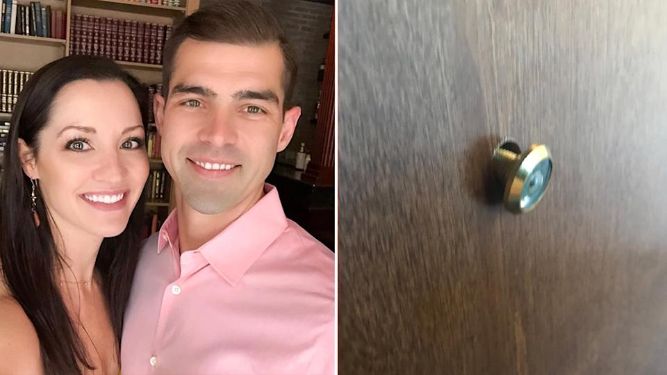 Left, Nathan and Christina Parks. Right, the alleged broken peephole.