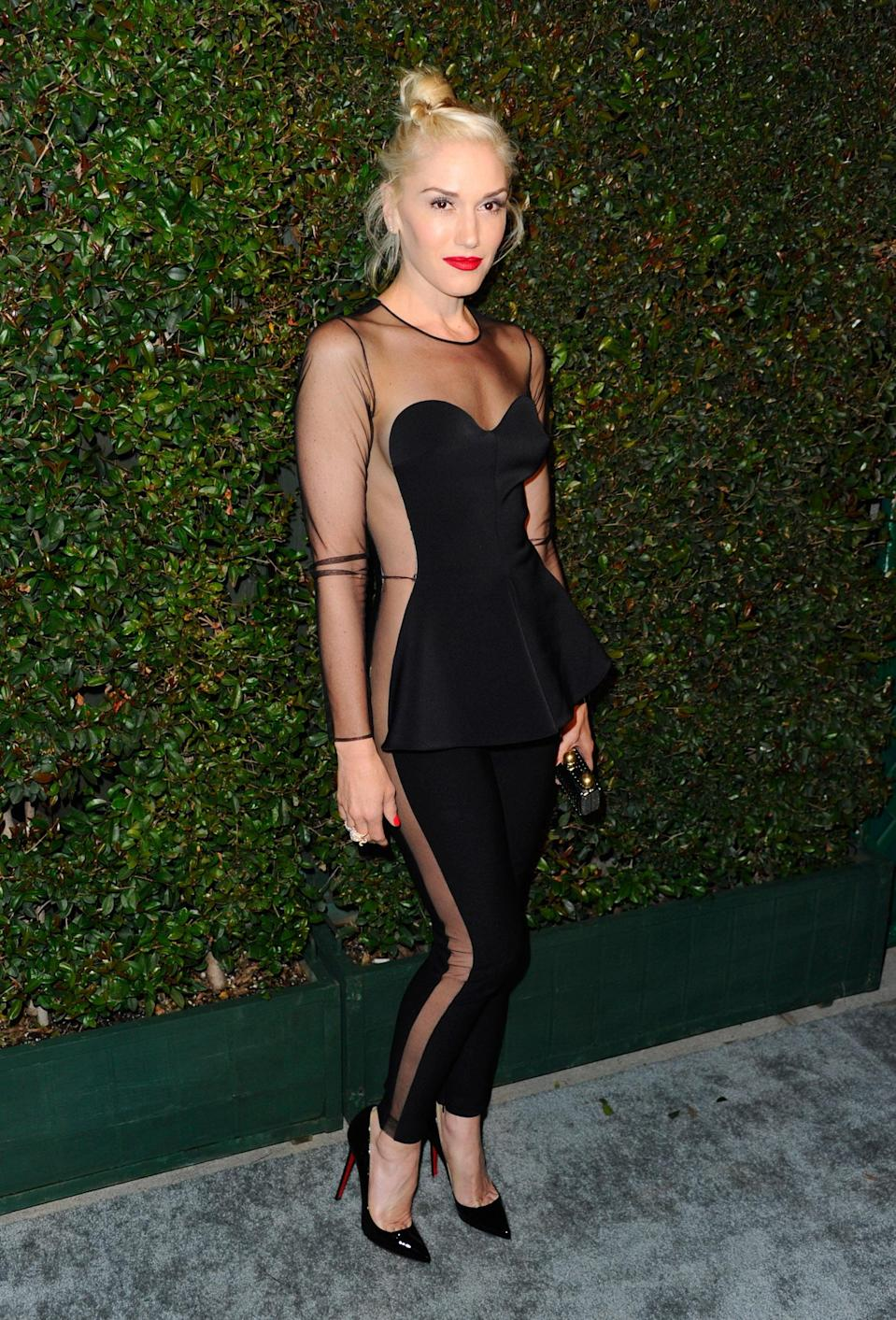 <p>It's hard to imagine the confidence it must take to wear sheer panels from head to toe like this, but Gwen pulled it off in Stella McCartney for the world premiere of <strong>My Valentine</strong> in 2012.</p>