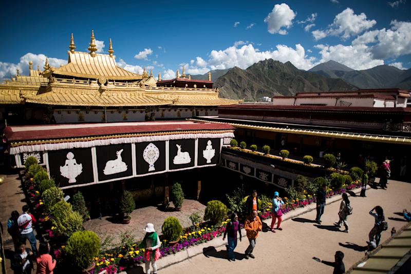 The Jokhang temple in Lhasa is one of Tibetan Buddhism's most hallowed sites. (JOHANNES EISELE via Getty Images)