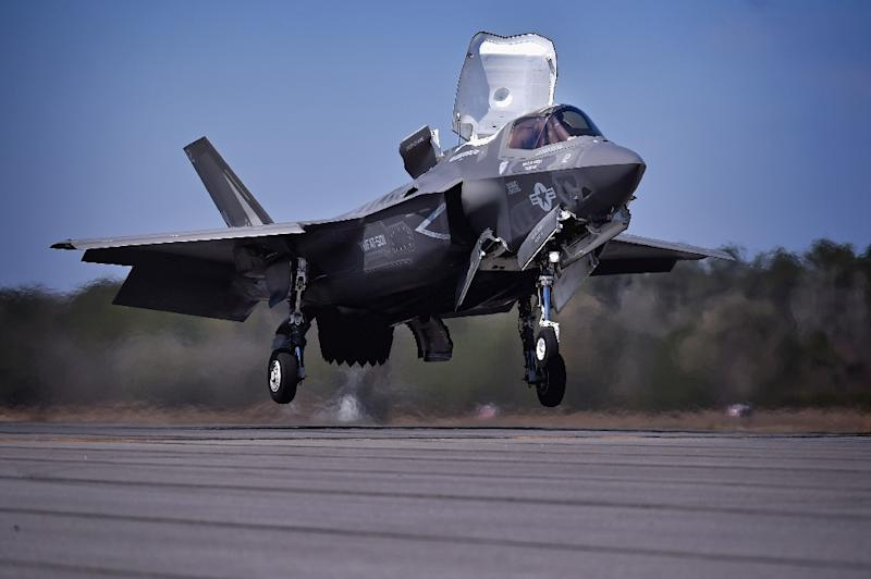 The Marines' F-35B, pictured,  is capable of conducting short takeoffs and vertical landings