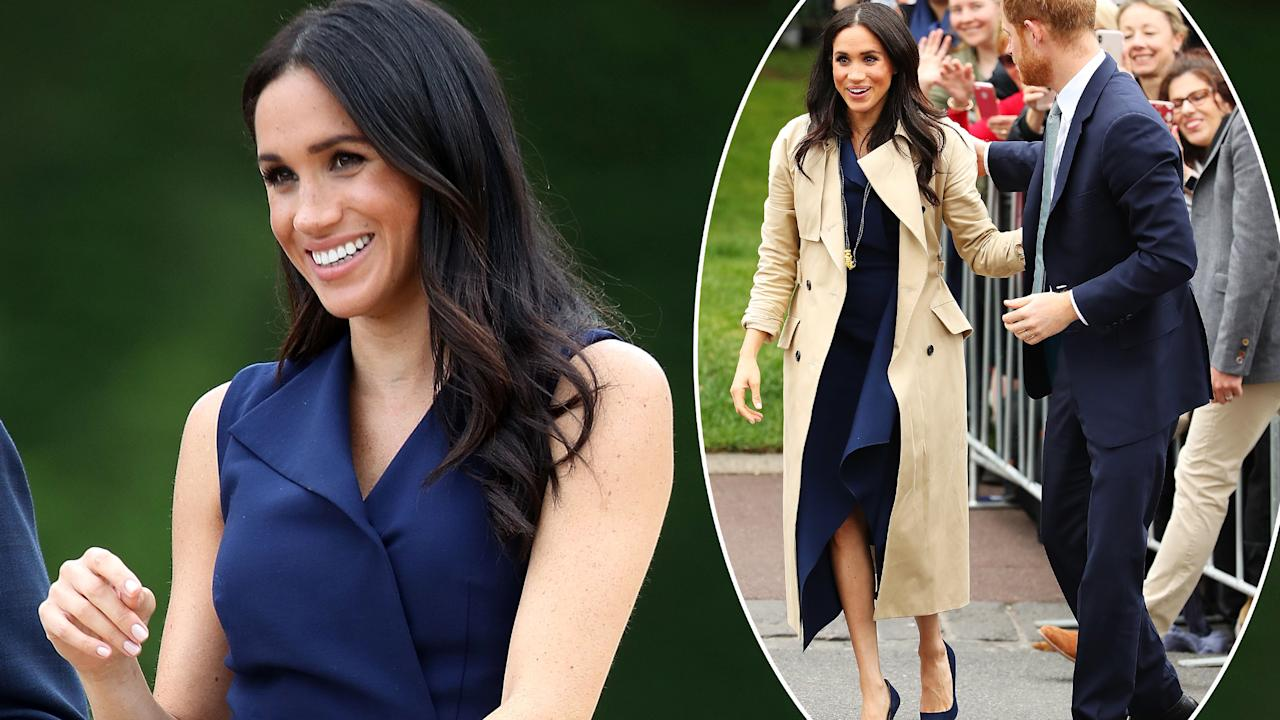 <p>Meghan Markle went back to her stylish roots on the third day of her tour of Australia, New Zealand, Tonga and Fiji. Photo: Getty </p>