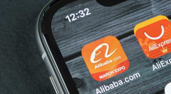 A photo of the Alibaba (BABA) app on a smartphone.