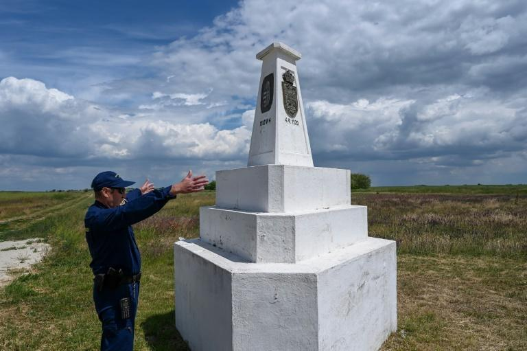 This triangular stone column marks the spot where the borders of Hungary, Romania, and Serbia meet