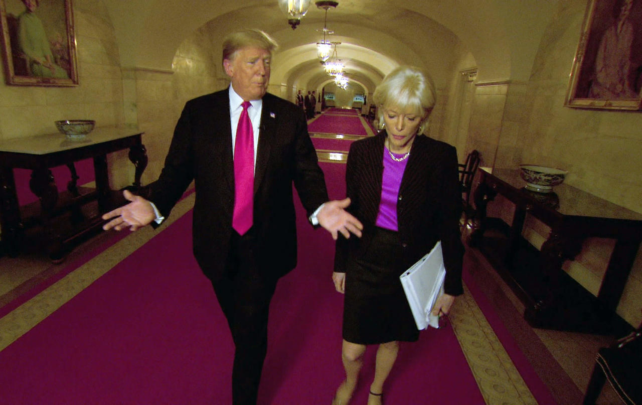 """This image taken from video provided by CBS shows President Donald Trump, left, with Lesley Stahl during the taping of an interview for """"60 Minutes"""" that aired on Sunday, Oct. 14. President Trump reached 11.7 million viewers for his """"60 Minutes"""" interview on Sunday or just over half the audience that Stormy Daniels had on the CBS newsmagazine last spring.(CBS via AP)"""