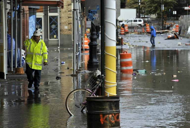 Manhattan's South Street Seaport area, seen a day after it was flooded during Hurricane Sandy in 2012 (AFP Photo/Timothy A. CLARY)