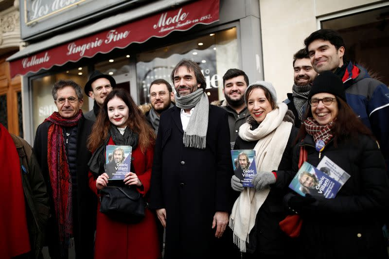 French mathematician Cedric Villani, member of Parliament and candidate for Paris mayoral election, campaigns in Paris