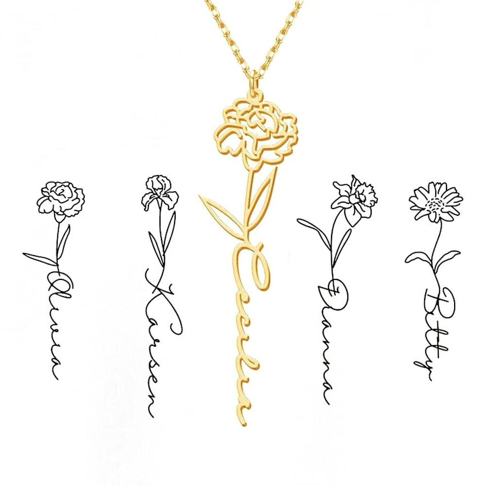 <p>If you're shopping for a thoughtful gift, get them this gorgeous <span>Personalized Birth Flower Name Necklace</span> ($23). the dainty floral necklace is something they'll wear and cherish every day. </p>