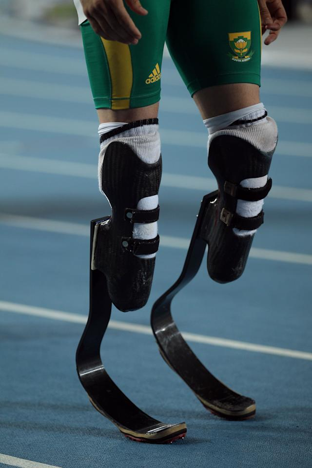 DAEGU, SOUTH KOREA - AUGUST 29:  Oscar Pistorius of South Africa prepares to compete in the men's 400 metres semi finals during day three of the 13th IAAF World Athletics Championships at the Daegu Stadium on August 29, 2011 in Daegu, South Korea.  (Photo by Chris McGrath/Getty Images)