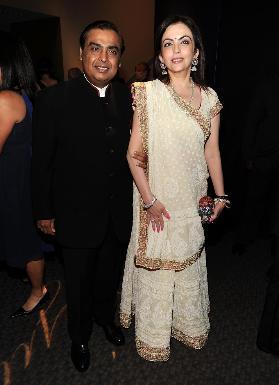 NEW YORK, NY - APRIL 26: Chairman and Managing Director of Reliance Industries Mukesh Ambani (L) attends the TIME 100 Gala, TIME'S 100 Most Influential People In The World at Frederick P. Rose Hall, Jazz at Lincoln Center on April 26, 2011 in New York City. (Photo by Larry Busacca/Getty Images for Time Warner)