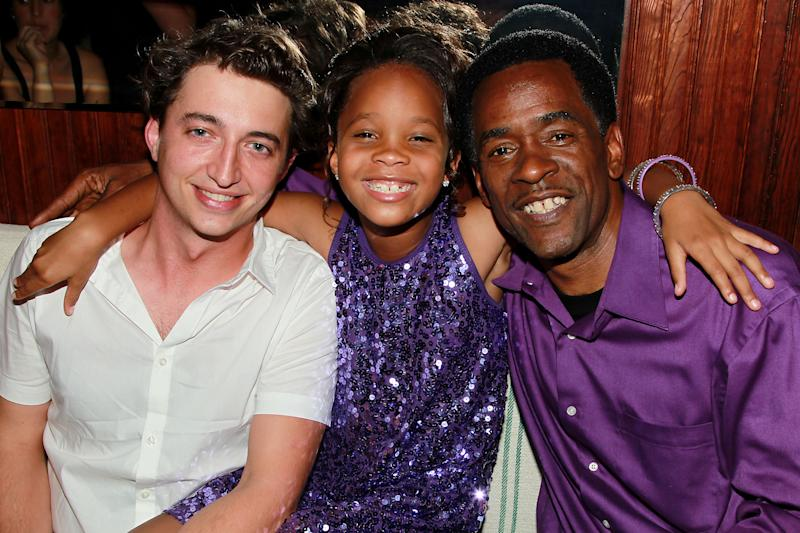 "This June 21, 2012 photo released by Starpix shows director Benh Zeitlin, left, with actors Quvenzhane Wallis, center, and Dwight Henry at the after party for the BAMcinemaFest 2012 Spotlight Screening of Fox Searchlight Pictures and Cinereach ""Beasts of the Southern Wild,"" at Berlyn Restaurant in the Brooklyn borough of New York. The film stars newcomers Wallis and Henry and was directed by Zeitlin. (AP Photo/Starpix, Dave Allocca)"