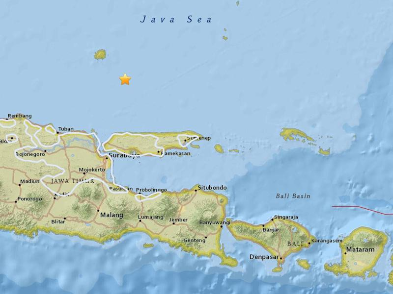 The location of the overnight earthquake in the Java Sea: USGS