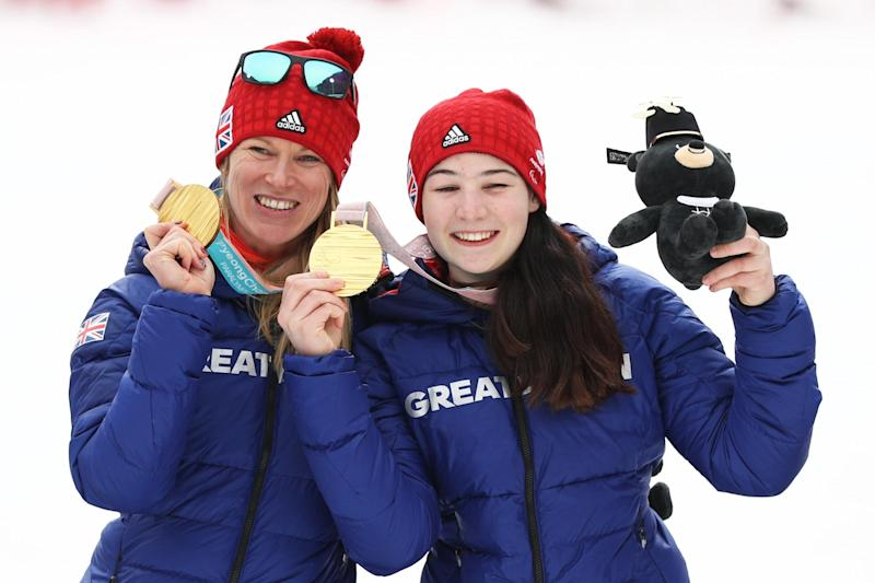 Menna Fitzpatrick (right) and her guide Jennifer Kehoe celebrate winning gold: Getty Images