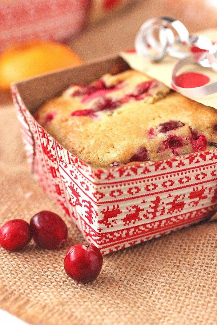 """<p>These sweet treats are great, easy-to-make holiday gifts. Be sure to make an extra for yourself!</p><p><strong>Get the recipe at <a href=""""https://bsugarmama.com/cranberry-orange-quick-bread/"""" rel=""""nofollow noopener"""" target=""""_blank"""" data-ylk=""""slk:Brown Sugar"""" class=""""link rapid-noclick-resp"""">Brown Sugar</a>.</strong></p><p><a class=""""link rapid-noclick-resp"""" href=""""https://www.amazon.com/USA-Pan-1140LF-Bakeware-Aluminized/dp/B0029JQEIC/?tag=syn-yahoo-20&ascsubtag=%5Bartid%7C10050.g.35246097%5Bsrc%7Cyahoo-us"""" rel=""""nofollow noopener"""" target=""""_blank"""" data-ylk=""""slk:SHOP LOAF PANS"""">SHOP LOAF PANS</a><br></p>"""