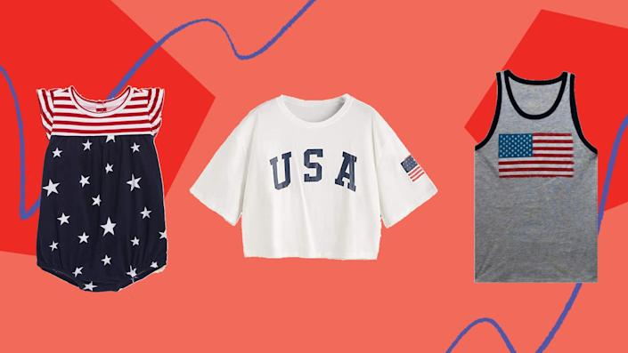 We found 4th of July tees for the family from Walmart, Target, Old Navy and Amazon. (Photo: HuffPost)
