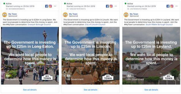 Facebook ads which were targeted at election battlegrounds in 2019