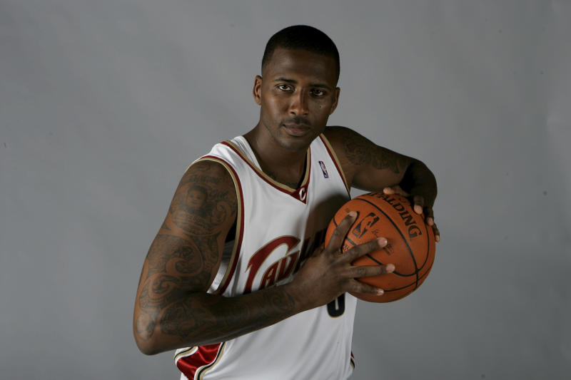 FILE - In this Sept. 29, 2008, file photo, Cleveland Cavaliers' Lorenzen Wright poses at the team's NBA basketball media day in Independence, Ohio. Sherra Wright is fighting an attempt by authorities to extradite her from California to Memphis, Tenn., to face conspiracy and first-degree murder charges in the 2010 death of her ex-husband, former NBA player Lorenzen Wright. (AP Photo/Mark Duncan, file)