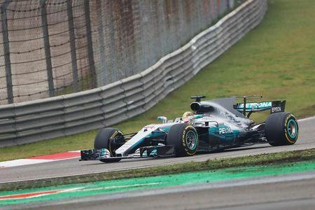 Formula One - F1 - Chinese Grand Prix - Shanghai, China - 09/04/17 - Mercedes driver Lewis Hamilton of Britain drives during the Chinese Grand Prix at the Shanghai International Circuit. REUTERS/Aly Song -