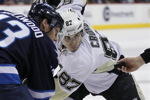 Pittsburgh Penguins' Sidney Crosby (87) and Winnipeg Jets' Kyle Wellwood (13) square up for a face-off during the second period of an NHL hockey game in Winnipeg, Manitoba, on Friday, Feb. 15, 2013. (AP Photo/The Canadian Press, John Woods)