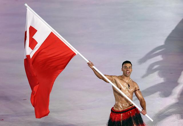 Pita Taufatofua was Tonga's flag bearer at the 2016 Summer Olympics and the 2018 Winter Olympics. (Getty)