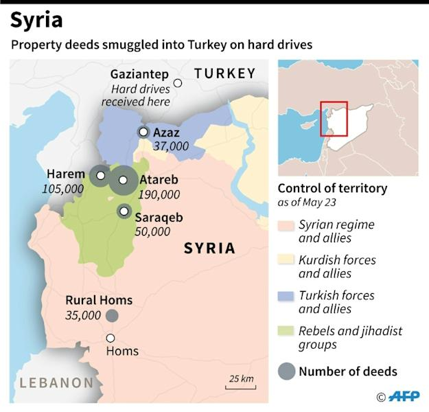 Map of northern Syria with numbers of property deeds smuggled into Turkey on hard drives. To go with AFP story