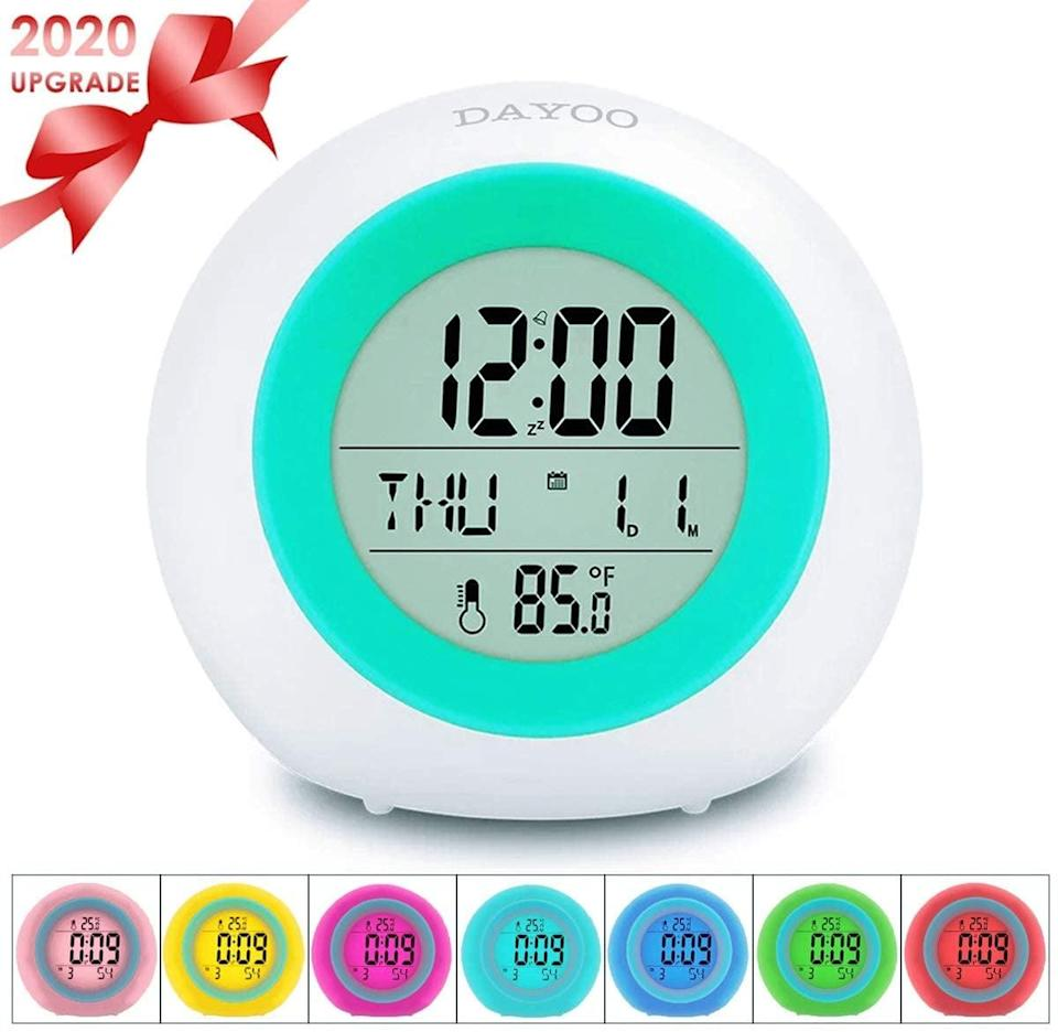 """<p>Help them wake up in the morning with this <a href=""""https://www.popsugar.com/buy/Dayoo-Kids-Alarm-Clock-569752?p_name=Dayoo%20Kids%20Alarm%20Clock&retailer=amazon.com&pid=569752&price=8&evar1=moms%3Aus&evar9=32519221&evar98=https%3A%2F%2Fwww.popsugar.com%2Ffamily%2Fphoto-gallery%2F32519221%2Fimage%2F42726523%2FDayoo-Kids-Alarm-Clock&list1=gifts%2Choliday%2Cgift%20guide%2Cgifts%20for%20kids%2Ckid%20shopping%2Ctweens%20and%20teens%2Choliday%20for%20kids%2Cgifts%20for%20teens&prop13=api&pdata=1"""" class=""""link rapid-noclick-resp"""" rel=""""nofollow noopener"""" target=""""_blank"""" data-ylk=""""slk:Dayoo Kids Alarm Clock"""">Dayoo Kids Alarm Clock</a> ($8). The touchscreen display also changes colors.</p>"""