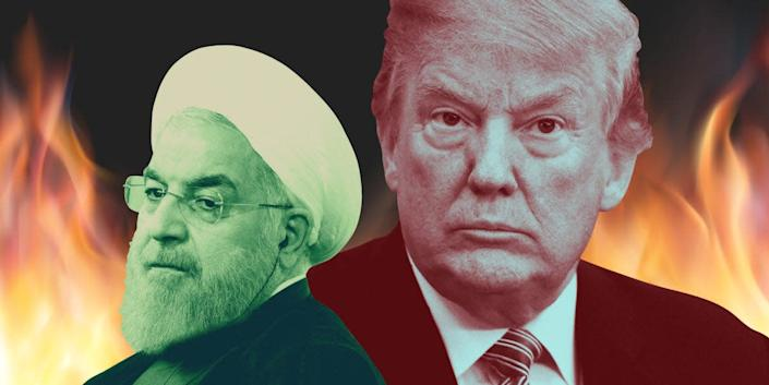 A composite image of Iranian President Hassan Rouhani and President Donald Trump.