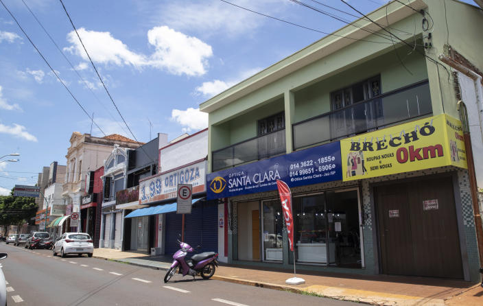 Stores are closed during a lockdown imposed by Sao Paulo state government to curb the spread of COVID-19 in Jau, Brazil, Thursday, Jan. 28, 2021. (AP Photo/Andre Penner)