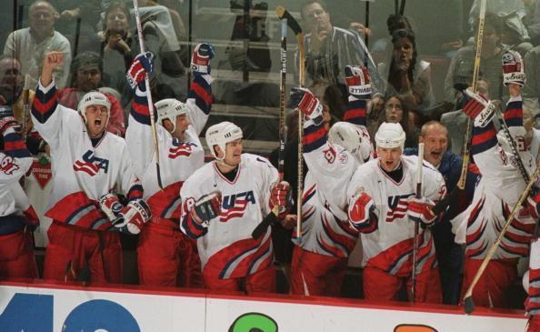 14 Sep 1996: Team USA celebates on the bench after Tony Amonte's winning goal against Canada to win the World Cup of Hockey at Molson Centre in Montreal, Quebec, Canada. The USA won the game 5-2 and the final series 2-1. Mandatory Credit: Glenn Cratty/Al