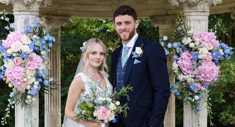 Andrew Harper and wife Lissie on their wedding day last month (PA)