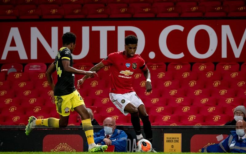Marcus Rashford running at the Southampton defence - GETTY IMAGES