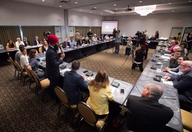 NDP Leader Jagmeet Singh addresses the start of a three-day NDP caucus national strategy session in Surrey, B.C. on Sept. 11, 2018.
