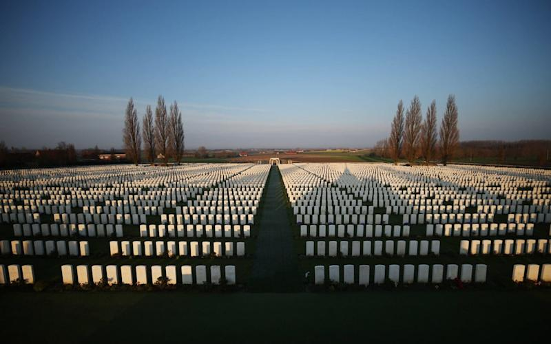 Early morning sunlight at Tyne Cot Commonwealth War Graves Commission cemetery