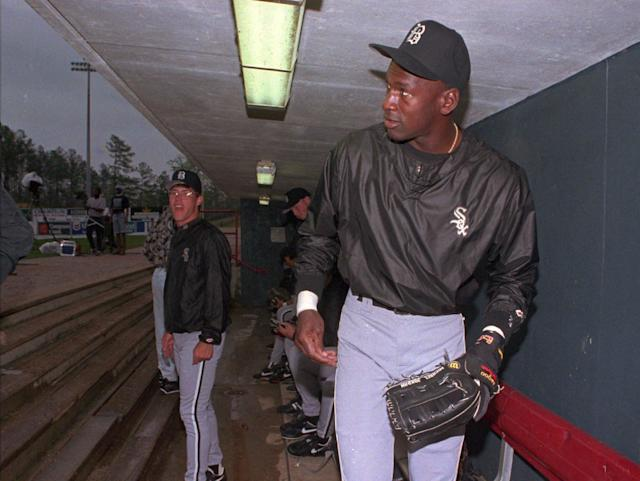 Michael Jordan prepares for his first game as a professional baseball player at the Hoover Metropolitan Stadium near Birmingham, AL. Jordan. (AP Photo/Dave Martin)