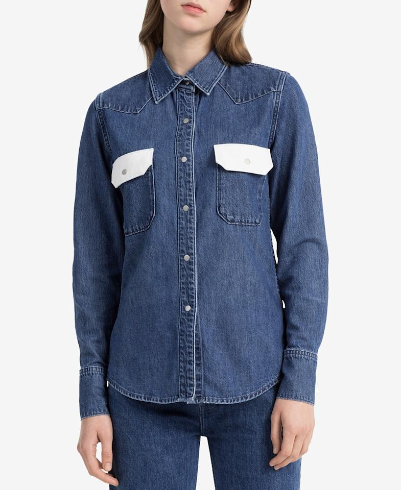 "<p>Cotton Western Shirt, $83 (on sale with code: VIP, valid until March 25 only, orig. $118), <a rel=""nofollow"" href=""https://www.macys.com/shop/product/calvin-klein-jeans-cotton-western-shirt?ID=5741094&CategoryID=255#fn=sp%3D1%26spc%3D4061%26ruleId%3D78%7CBOOST%20SAVED%20SET%26kws%3Dcalvin%20klein%26ackws%3Dcalv%26searchType%3Dac%26searchPass%3DexactMultiMatch%26slotId%3D10"">macys.com</a> </p>"