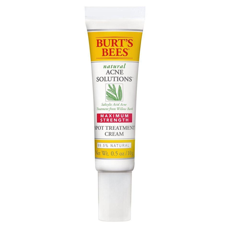 """<p><strong>Burt's Bees</strong></p><p>amazon.com</p><p><strong>$9.99</strong></p><p><a href=""""https://www.amazon.com/dp/B006YQ7Z3E?tag=syn-yahoo-20&ascsubtag=%5Bartid%7C10051.g.37014835%5Bsrc%7Cyahoo-us"""" rel=""""nofollow noopener"""" target=""""_blank"""" data-ylk=""""slk:Shop Now"""" class=""""link rapid-noclick-resp"""">Shop Now</a></p><p>When you see a breakout starting to form, put a little of this treatment over those spots to prevent them from really coming through. </p>"""