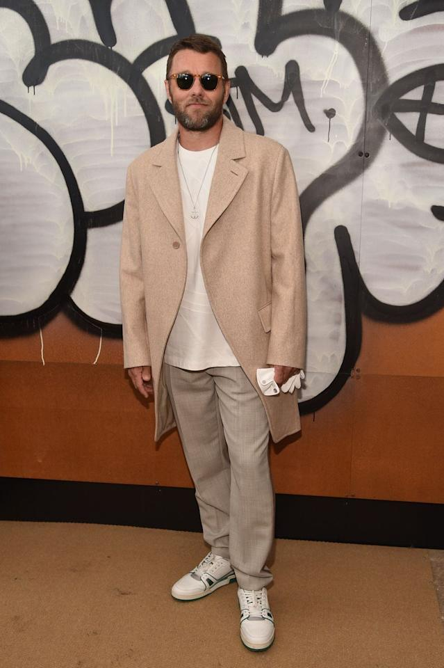 "<p>An invite to the front row of <a rel=""nofollow"" href=""https://www.esquire.com/uk/style/g25934252/virgil-abloh-louis-vuitton-aw-19/"">Virgil Abloh's second Vuitton show</a> is a big deal. A huge one. Massive! So, like Joel Edgerton, you put the pedal to the metal on neutral gear, flexing the whole oversized thing. </p>"