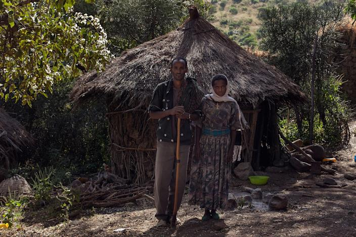 <p>Asniko Mebrie (25) and Demeku Astewale (18) in Gindero, Amhara, Ethiopia in October 2016.<br> Demeku was forced to marry Asniko in February 2016, after Asniko father asked her family for her hand in marriage. When asked about the age, she doesn't answer and looks down as Asniko laughs and says she is 18. A neighbour, that knows her family, says she is not older than 15 or 16. (Photo: José Colón/MeMo) </p>