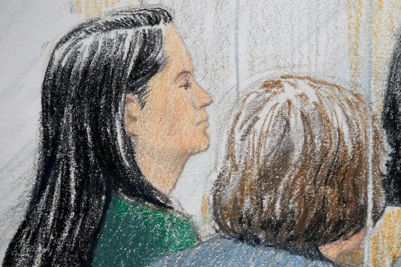 Huawei CFO Meng Wanzhou (L), who was arrested on an extradition warrant, appears at her bail hearing in B.C. Supreme Court