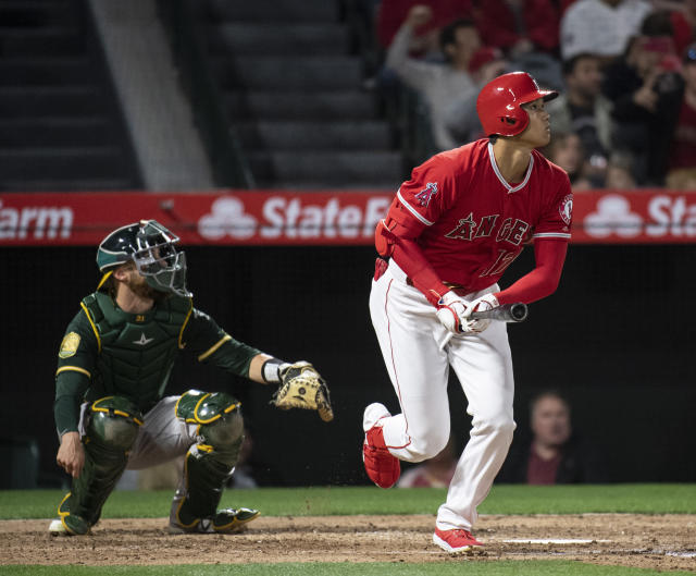 Angels' designated hitter Shohei Ohtani homered for the third straight game on Friday night. (AP)