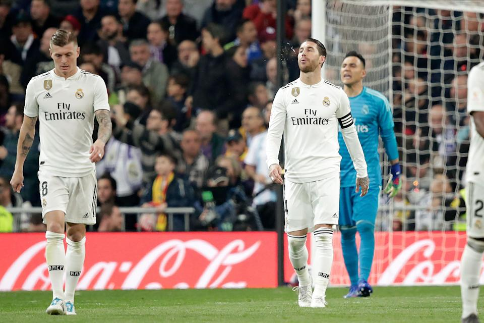 MADRID, SPAIN - FEBRUARY 27: (L-R) Toni Kroos of Real Madrid, Sergio Ramos of Real Madrid  during the Spanish Copa del Rey  match between Real Madrid v FC Barcelona at the Santiago Bernabeu on February 27, 2019 in Madrid Spain (Photo by David S. Bustamante/Soccrates/Getty Images)