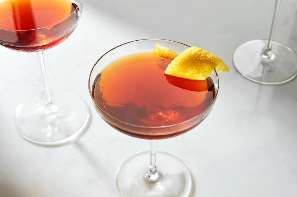 """If you find the <a href=""""https://www.epicurious.com/recipes/food/views/negroni-56390123?mbid=synd_yahoo_rss"""" rel=""""nofollow noopener"""" target=""""_blank"""" data-ylk=""""slk:Negroni"""" class=""""link rapid-noclick-resp"""">Negroni</a> a bit too intense, Aperol cocktails like this one might be just what you're looking for. This silky drink's bitter punch is mellowed by an extra splash of gin; herbaceous Punt e Mes adds complex flavor. It's a <a href=""""https://www.epicurious.com/expert-advice/rules-of-riff-how-to-adjust-classic-cocktail-recipes-article?mbid=synd_yahoo_rss"""" rel=""""nofollow noopener"""" target=""""_blank"""" data-ylk=""""slk:riff on the classic cocktail"""" class=""""link rapid-noclick-resp"""">riff on the classic cocktail</a> that really works for us. <a href=""""https://www.epicurious.com/recipes/food/views/bittersweet-symphony-gin-aperol-cocktail?mbid=synd_yahoo_rss"""" rel=""""nofollow noopener"""" target=""""_blank"""" data-ylk=""""slk:See recipe."""" class=""""link rapid-noclick-resp"""">See recipe.</a>"""