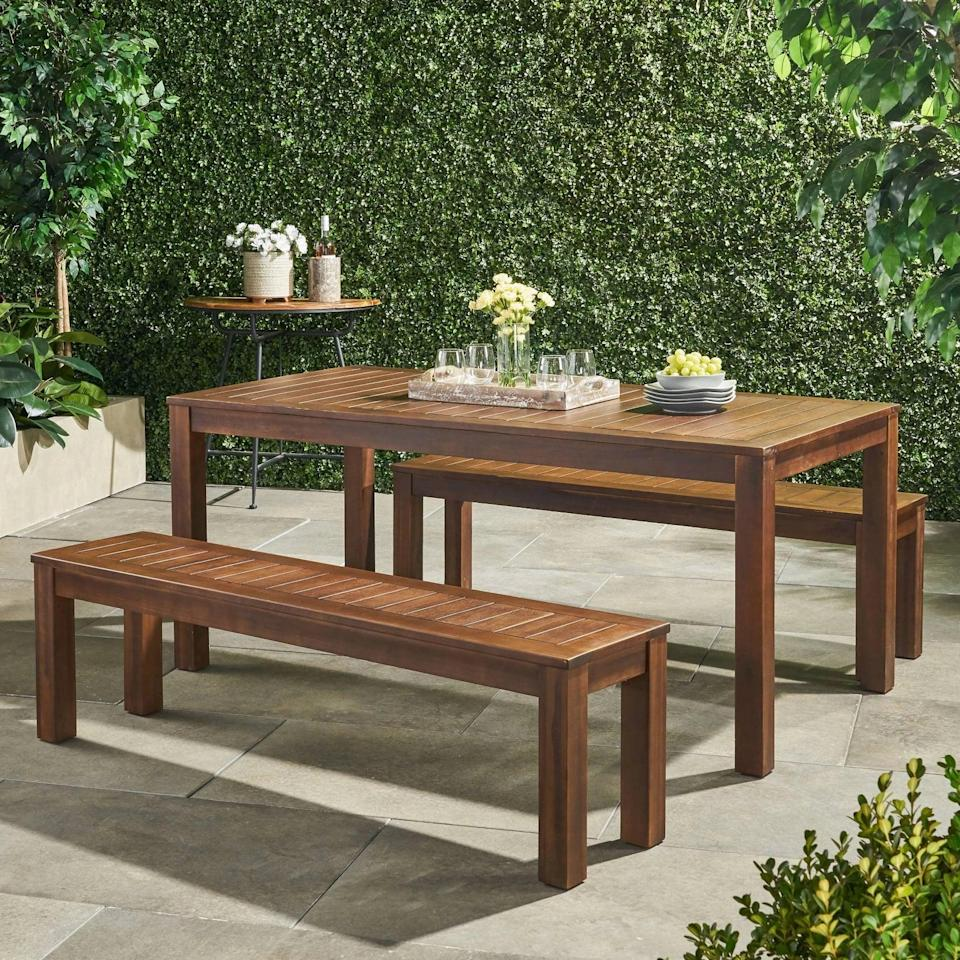 <p>The <span>Manila Acacia Wood Picnic Set</span> ($539) is large enough to sit up to six adults.</p>