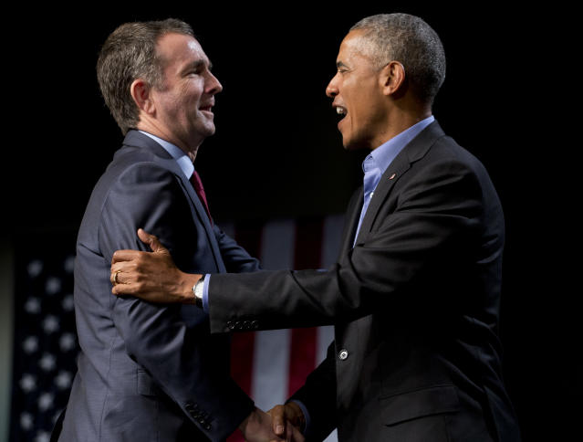 Former President Barack Obama with candidate Ralph Northam, during a rally in Richmond, Va., Oct. 19, 2017. (Photo: Steve Helber/AP)