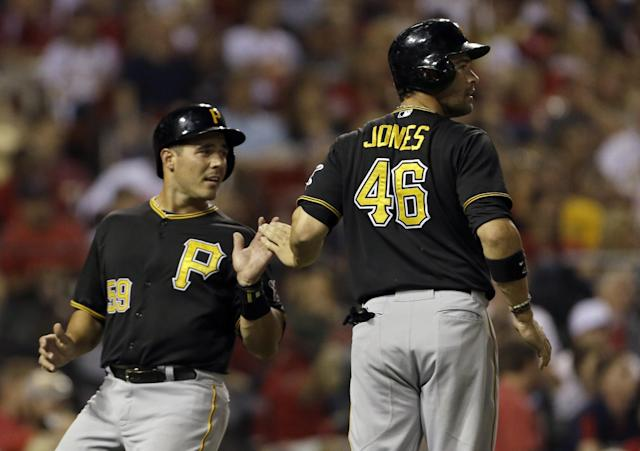 Pittsburgh Pirates' Tony Sanchez, left, and Garrett Jones celebrate after both scored on a double by Starling Marte during the fourth inning of a baseball game against the St. Louis Cardinals Wednesday, Aug. 14, 2013, in St. Louis. (AP Photo/Jeff Roberson)