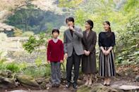 FILE PHOTO: Japan's Prince Akishino and his wife Princess Kiko stroll in the garden for a family photo with their children Prince Hisahito and Princess Mako, at their residence in Tokyo