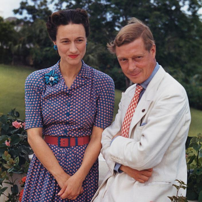 Wallis and the Duke of Windsor outside Goverment House in Nassau, the Bahamas, circa 1942