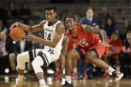 FILE - In this Jan. 4, 2020, file photo, Vanderbilt forward Aaron Nesmith (24) works against SMU forward Isiaha Mike (15) during NCAA college basketball game in Nashville, Tenn. Nesmith was selected by the Boston Celtics in the NBA draft Wednesday, Nov. 18, 2020. (AP Photo/Mark Humphrey, File)