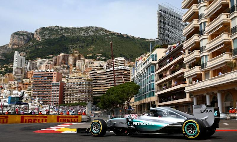 Lewis Hamilton in his Mercedes F1 car in Monaco