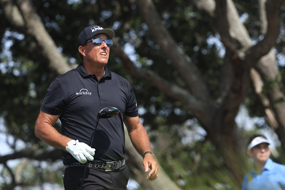 Phil Mickelson is leading the PGA Championship during the third round at Kiawah Island Resort's Ocean Course in Kiawah Island, South Carolina. (Photo by Sam Greenwood/Getty Images)